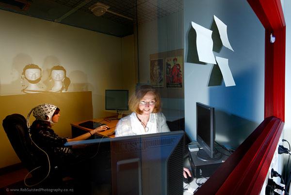 Dr Gina Grimshaw, Senior Lecturer, Cognitive neuroscientist. Story portrait by Rob Suisted
