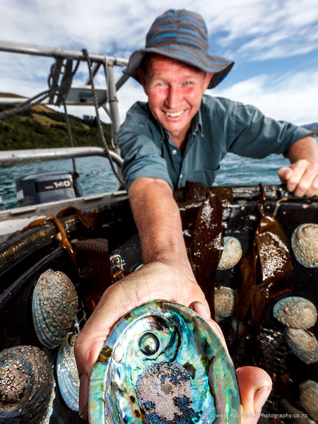 Roger Beattie, developer of the pacific pearl, grown in NZ Paua, Abalone. Story portrait by Rob Suisted