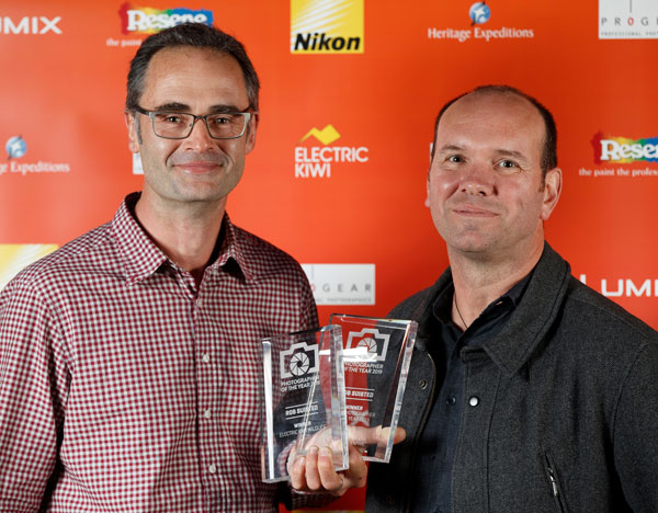 Receiving award from sponsor Nikon NZ's Richard Greasley. Photo Richard Robinson