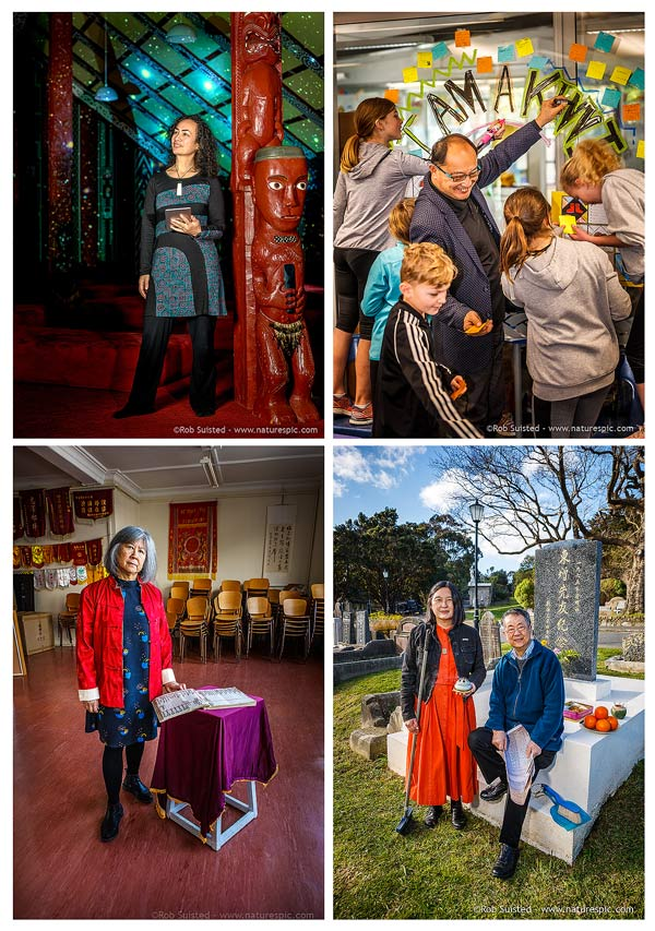 NZ Story Portraits of, Ocean Mercier, Meng Foon, Linda Shum, Kirsten Wong with Gordon Wu