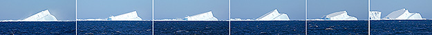 Photo series of massive tabular iceberg collapsing