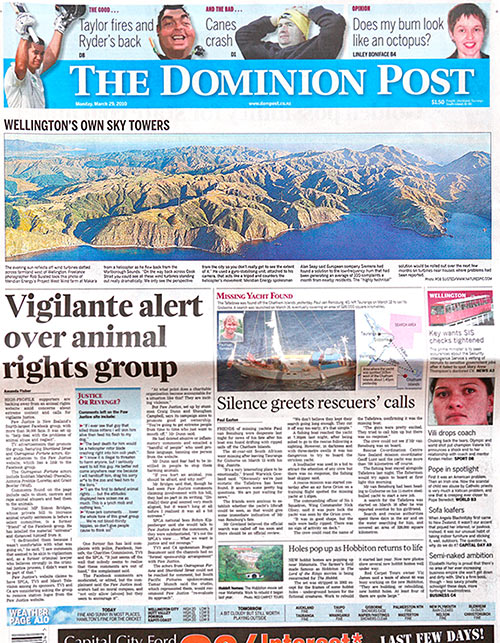 Dominion Post cover 29 March 2010 by Rob Suisted