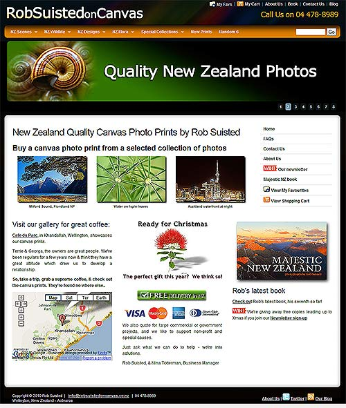 New homepage for www.RobSuistedonCanvas.co.nz