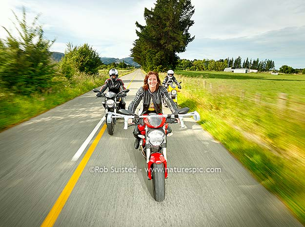 Bianca Edwards and her Ducati, with Fiona and Carla
