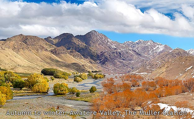 Awatere River at the Muller - lush autumn to stark winter