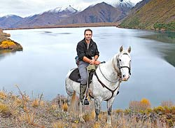 Rob Suisted and Ghost at Lake McRae, Molesworth Station