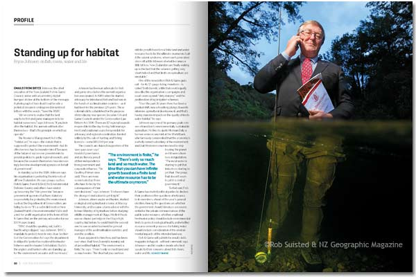 NZ Geographic Magazine, portrait by Rob Suisted of Bryce Johnson