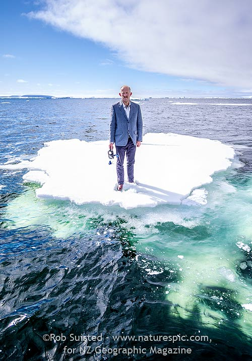 Gareth Morgan and 'Plan B' - face mask and snorkel. There is no Plan B with climate change. On melting ice, Antarctica. ©Rob Suisted, for NZ Geographic