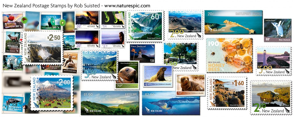Some NZ Post postage stamps featuring photos by Rob Suisted